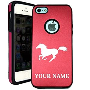 SudysAccessories Personalized Customized Custom Wild Horse iPhone 5 Case iPhone 5S Case - MetalTouch Red Aluminium Shell With Silicone Inner Protective Designer Case-Personalized For FREE(Send us an Amazon email after purchase with your choice of NAME)