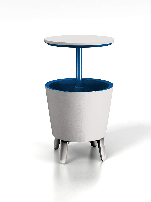 Keter, Tavolino da esterni con cesto porta-ghiaccio incorporato, Bianco Blu