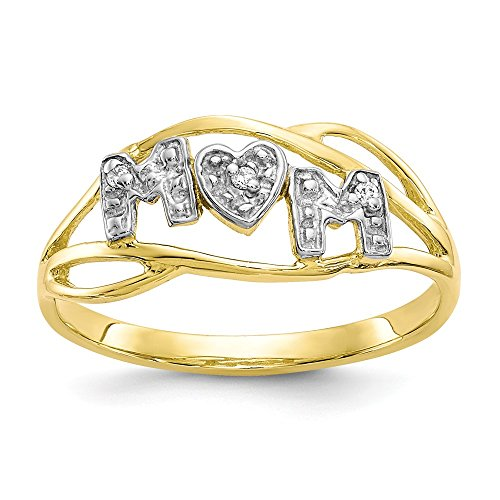 10k Yellow Gold Mom Band Ring Size 7.00 Fine Jewelry Gifts For Women For Her