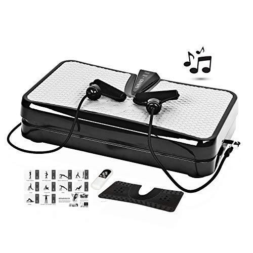 Vibration Plate Power Vibration Platform Machine Whole Full Body Shape Exercise Machine Fit Massage Workout Trainer with Two Bands,Two mats, Remote,MP3 Player Max User Weight 330lbs