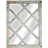 Crystal Art Rustic Wood Window Pane Vanity Wall Mirror Farmhouse Décor, Teal