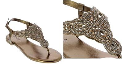 f67bfa6c11b1a2 BAMBOO Magical-33 Bronze 5.5 Women Rhinestone Bejeweled Flat Sandal - T-Strap  Thong