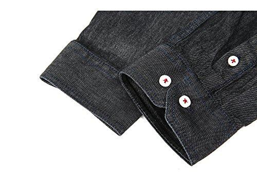 Lunga Mocotono Nero Uomo Da Manica Fit In Regular Camicia Jeans wqPSw