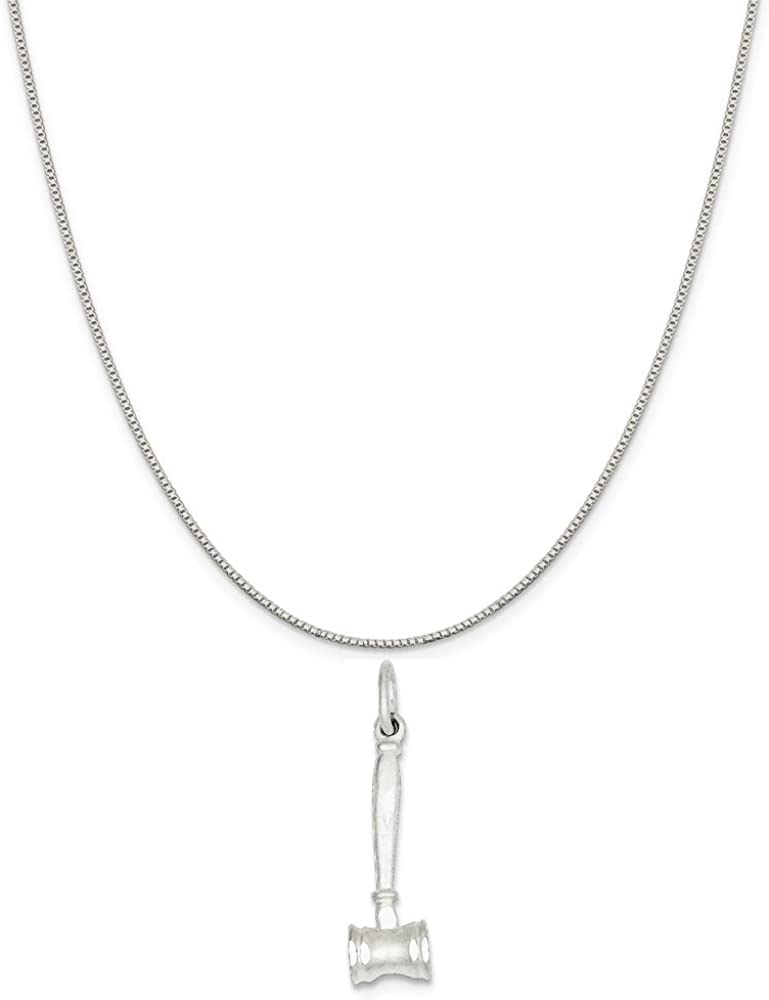 18 Mireval Sterling Silver Polished Heart Charm on a Sterling Silver Carded Box Chain Necklace