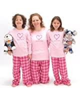 Matching Pink Bubblegum Love Your Family Heart Pajamas for Adults & Kids Playwear