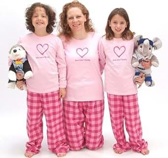Bubblegum LYF Heart Pink Shirt Pant Pajamas Set - Adult Small, L/S, GUM Plaid Pants (122)