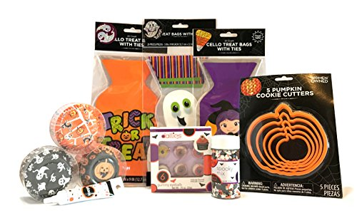 Halloween Baking and Treat Kits! Halloween Cupcake Mix, Halloween Cookie Cutters, Halloween Treat Bags - Halloween Party Supplies! (Cupcake & Cookie Decorations - Dallies Spooky (Spider Cheese Ball Halloween)