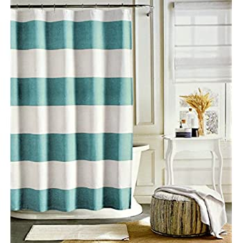 teal striped shower curtain. Tommy Hilfiger Cotton Shower Curtain Wide Stripes Fabric  Charcoal Grey Navy Blue Cabana Stripe Amazon com