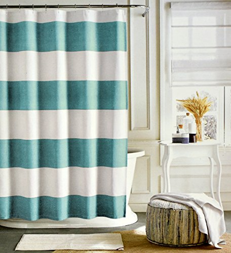 Cabana Stripe Shower Curtain (Tommy Hilfiger Cotton Shower Curtain Wide Stripes Fabric Shower Curtain Charcoal Grey Navy Blue Cabana Stripe (Light)