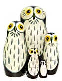 Barn Owls 5-Piece Russian Nesting Doll Wooden Babushka Stacking Dolls by GreatRussianGifts