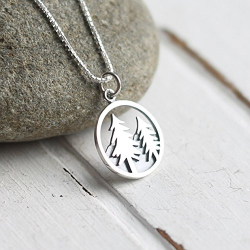 (Sterling Silver Evergreen Tree Charm Necklace 18 Inch Length)