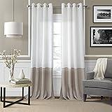 Elrene Home Fashions 026865876383 Colorblocked Grommet Sheer Single Panel Window Curtain Drape, 52″ x 95″, Ivory For Sale