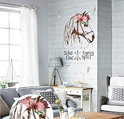 JEWH Horse Head Personality Wall Sticker Mural Removable DIY Room Decor declas Bedroom Wall Decal sk7092