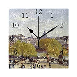 Decor Wall Clock Quai Du Louvre Monet Art 7.87 Inch Square Numeral Clock Silent Non Ticking for Home Office School