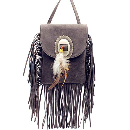 Texas Suede Leather In West Fringe Western Multi Color With Bag Gray Crossbody Feather HtwHr1qng