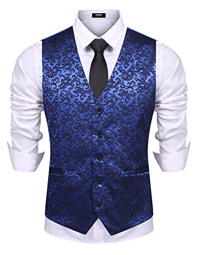 (URRU Men Vest Waistcoat Suit Dress Vest Tuxedo Vest for Business Wedding Party Navy Blue XL)