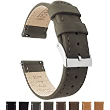 BARTON Quick Release Top Grain Leather Watch Strap - Choice of Colors & Widths (18mm, 20mm or 22mm) - Espresso (Dark Brown) 18mm Watch Band
