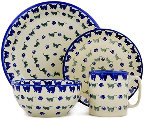 Polish Pottery 10-inch Place Setting (Boo Boo Kitty Paws Theme) + Certificate of Authenticity - Kitty Cat Pottery