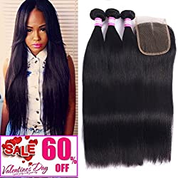 8A Malaysian Straight Hair 3 Bundles With Closure Virgin Unprocessed Human Hair Wefts Hair Extensions Deal With Mixed Lengths 14 16 18 Inches With 10 Inches Free Part Closure …