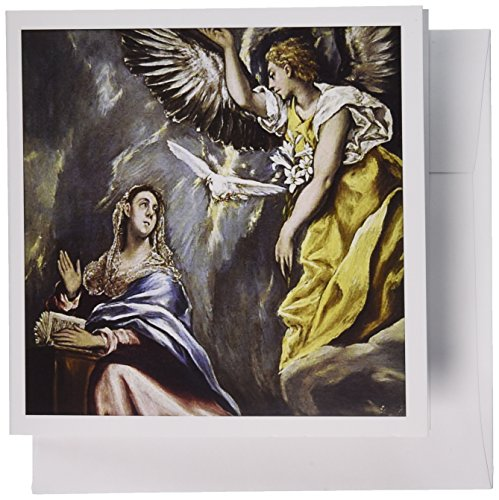 3dRose Grecos painting, The Annunciation - HI01 PRI0024 - Prisma - Greeting Cards, 6 x 6 inches, set of 6 (gc_82990_1)