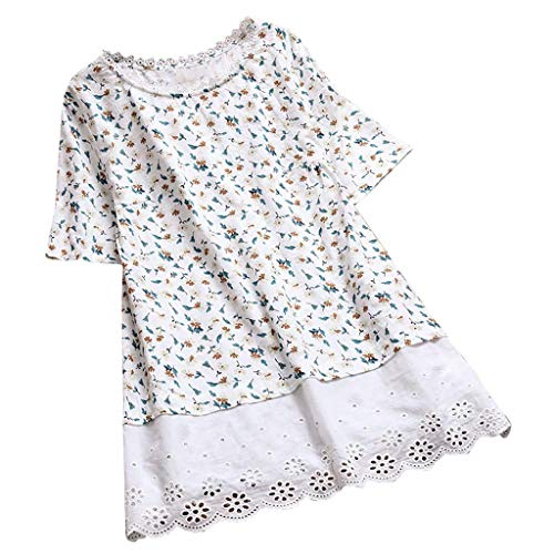 JOFOW Shirts Womens Babydoll Short Sleeve Loose Boho Floral Flowers Print Patchwork Lace Solid Hem Tops O Crew Neck Blouses (XL,Cream)