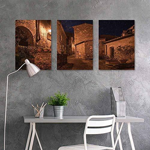 BE.SUN Oil Painting Modern Wall Art Posters Sticker,Ancient,Street of Aged Antique Tuff City with Stone Houses Roman Cityscape Illuminated Art Photo,Office Art Decoration 3 Panels,24x35inchx3pcs,Tan