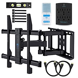 """Wall Mount TV Bracket For 37-70"""" TVs - Full Motion with Articulating Arm & Swivel - Holds up to 120 lbs & Extends 16"""" - Fits Plasma Flat Screen TV Monitor Includes Surge Protector by PERLESMITH"""