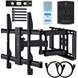 Wall Mount TV Bracket For 37-70 TVs - Full Motion with Articulating Arm & Swivel - Holds up to 120 lbs & Extends 16 - Fits Plasma Flat Screen TV Monitor Includes Surge Protector by PERLESMITH