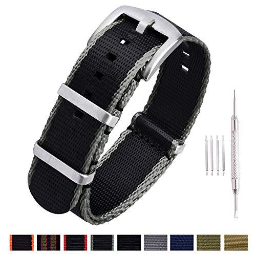 Ritche NATO Watch Strap with Heavy Buckle 18mm 20mm 22mm Premium Seat Belt Nylon Watch Bands for Men Women ()