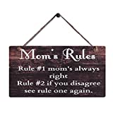Cheap Rustic Wood Sign Wall Hanging Plaque Vintage Style Mom's Rules Motto Sign Size 11.5″ x 6″