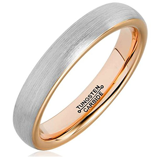 Men 4mm Tungsten Carbide Ring Rose Gold Plated Fashion Wedding Engagement Promise Band Silver Dull Polish ()