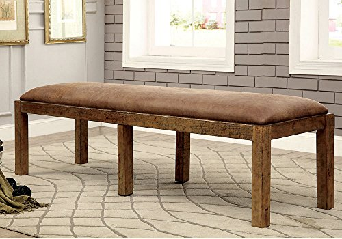 1PerfectChoice Gianna Dining Bench Industrial Style Bold Rustic Pine Solid Wood Faux Leather