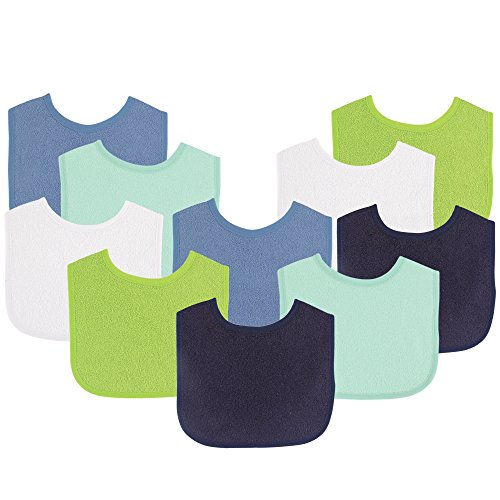 "Luvable Friends Baby Bibs Value Pack, Navy/Lime, 6 x 7.5"", 10 Count"