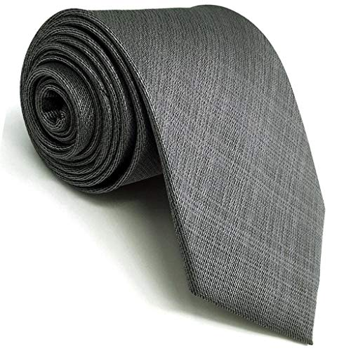 (SHLAX&WING Solid Color Grey Mens Neckties Silk Tie Business Extra Long 63 inches)