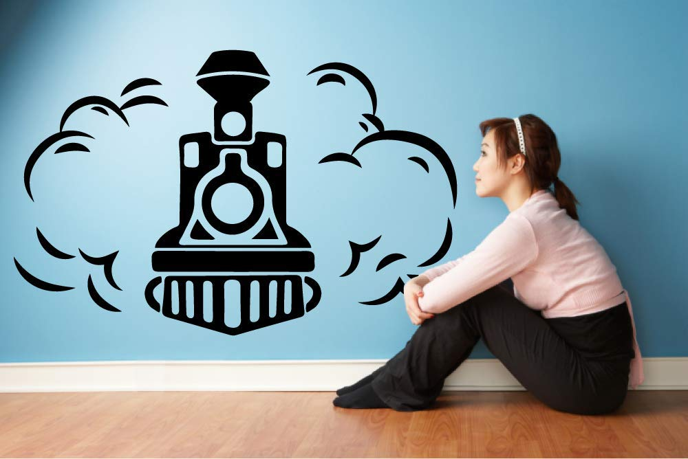 35x40 inch Train Ride Smoke Toy Railroad Railway Rail Trains Wall Sticker Art Decal for Girls Boys Room Bedroom Nursery Kindergarten House Fun Home Decor Stickers Wall Art Vinyl Decoration Size