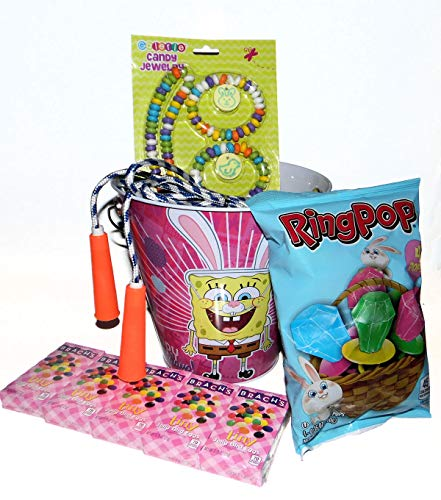 Blue Skies Plus Sponge Bob Squarepants Easter Basket with Candy Jewelry, Ring Pops, Jelly Beans and Jump Rope in a Metal Bucket]()
