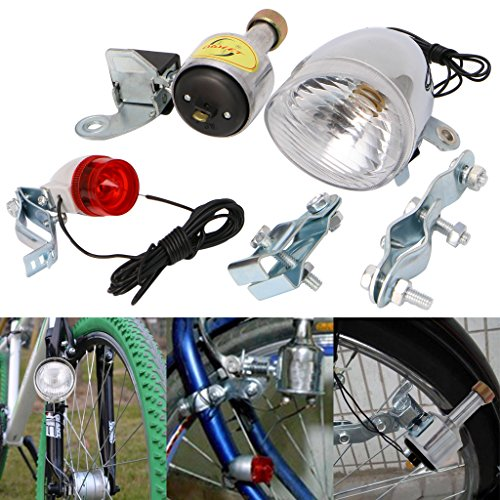 Yoohigh Vintage Bicycle Motorized Bike Friction Dynamo Generator Head Tail Light With Acessories