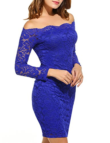 Sleeve Wedding Off Bodycon Women's Cocktail Dresses Long Dress Party Shoulder Lace GEESENSS Blue UYwOqH