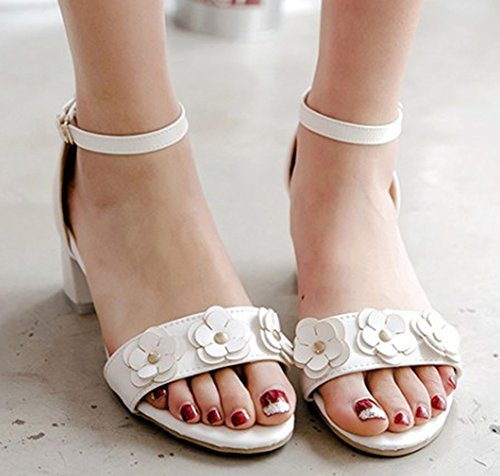 Sandales Spécial Easemax Fleurs Ouvert Bout Femme Blanc Chunky 5xwYqO7