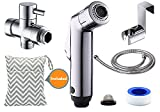 Besego Cloth Diaper Toilet Sprayer + Wet Bag Set, Two Mode Bidet Sprayer Kit, Toilet Shattaf Sprayer with (7/8-Inch) T-Valve, Toilet Attachment Metal Holder & 4.6ft Hose