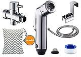 BESEGO Cloth Diaper Toilet Sprayer + Wet Bag Set, Two Mode Bidet Sprayer Kit, Toilet Shattaf Sprayer with (7/8-Inch) T-Valve, Toilet Attachment Metal Holder & 4.6ft Hose