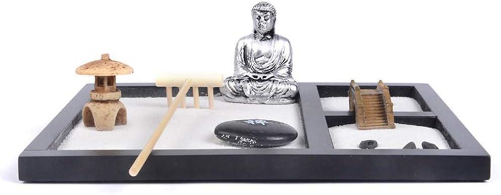 Jardin Zen Bouddha Yoga Lady Ornement Statue Pierre naturelle Sable en rotin dencens en bois R/âteau Ensemble cadeau avec 6/types de R/âteaux Sable et rochers 2/figurines de m/éditation