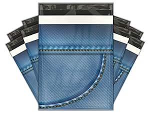 10x13 (100) Blue Denim Designer Poly Mailers Shipping Envelopes Premium Printed Bags