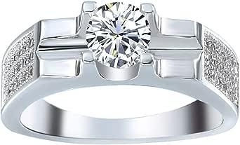 VPbao Women Plated Silver Cubic Zirconia CZ Wedding Rings Band White