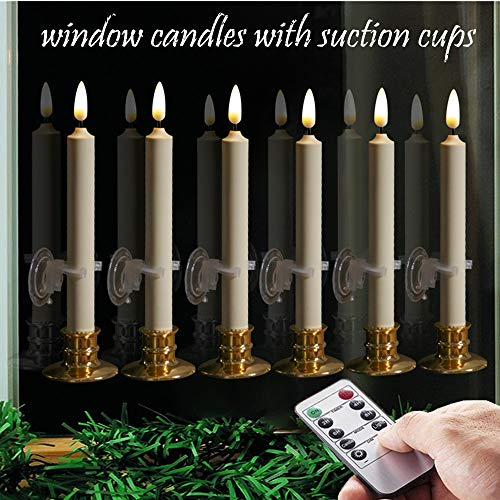 6PACK Flameless Windows Candles with Clips, Suction Cup,and Golden Candleholders. Battery Powered Ivory Taper Candles with Remote and Timer & Candlestick.Remote Included.Christmas decor candles