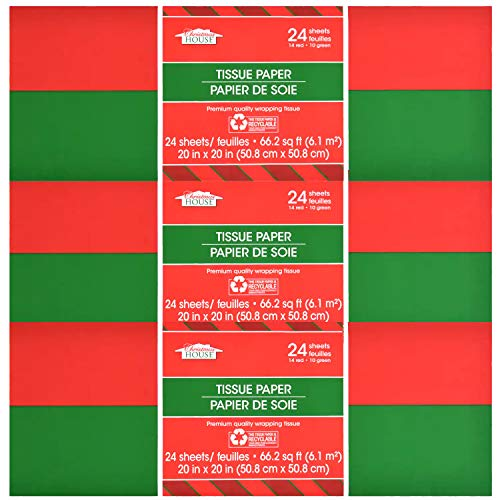 24 Red & Green Christmas Tissue Paper (Solid Colors) (72 Sheets (Red & Green))