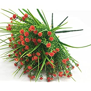 CATTREE Artificial Plants, 4pcs Faux Baby's Breath Fake Small Flowers Gypsophila Shrubs Simulation Greenery Bushes Wedding Centerpieces Table Floral Arrangement Bouquet Filler - Orange 4