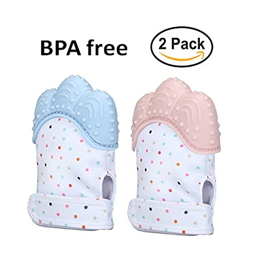 Goldflower Baby Teething Mittens Baby Teether Gloves BPA Free Infant Self-Soothing Paw Toys Pain Relief Teether Glove Babies Boys Girls 3-12 Months