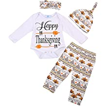 Canis Baby Boys Girls My First Thanksgiving Romper Bodysuit and Turkeys Pants Outfit with Hat and Headband