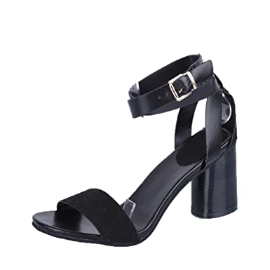 5c3bd4ac5 OverDose Women Ankle Strap Heels Women Sandals Summer Shoes Chunky High  Heels Party Sandals  Amazon.co.uk  Clothing